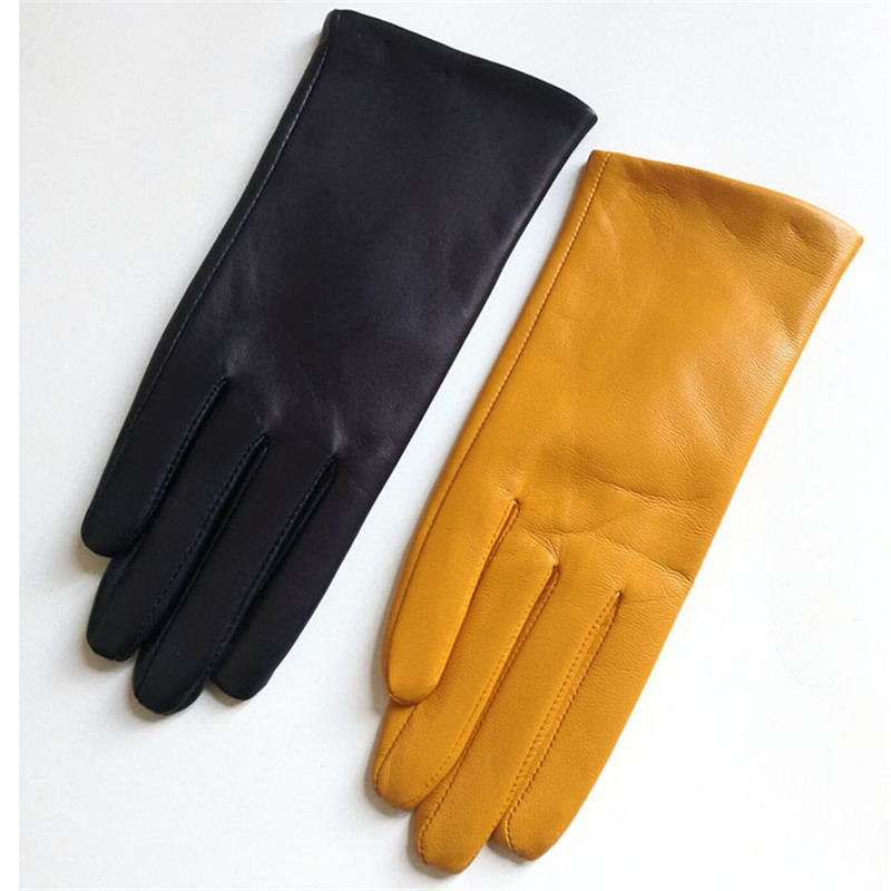 Women's Gloves Fashion Simple Basic Style Imported Lambskin Genuine Leather Ladies Gloves For Driving Touch Screen DZZP03