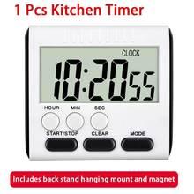 Minuterie de cuisine avec écran numérique LCD carré, compte à rebours, alarme de sommeil, chronomètre, fonction horloge