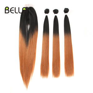 Bella Straight Hair Bundles With Closure Synthetic Yaki Hair Weft 22inch 4pcs/Pack Ombre