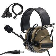 Tático comtac ii airsoft militar fone de ouvido captador redução ruído caça tiro proteção auditiva com u94 ptt