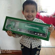 1:50 Масштаб сплав металлический контейнер грузовика-трейлера EVERGREEN грузовой логистики грузовик литья под давлением модель зеленый цвет инженерный автомобиль игрушка