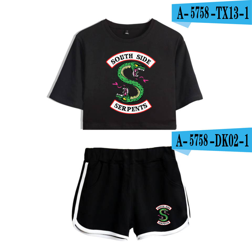Riverdale Summer Two Piece Set Fashion Navel Sexy 2019 Printed T Shirt  New Suit Shorts Crop Women Fashion South Side Serpents