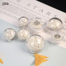 botões decorativos para artesanato, Botones transparente pérola botão para roupas femininas casaco vestido botões decorativos até costura acessórios 18mm bordado