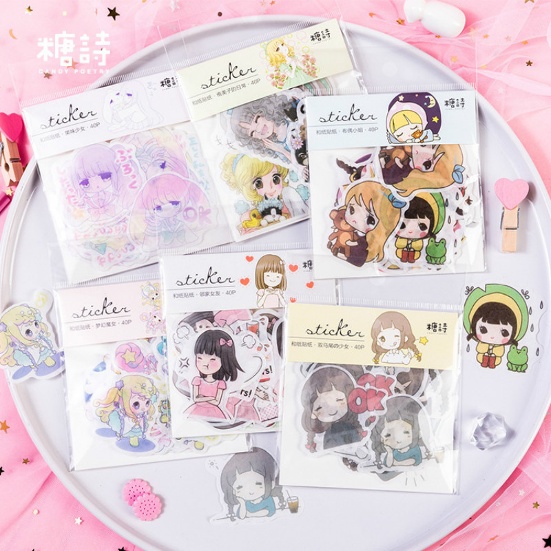AngelHere Store 40 Pcs/set 6 Series Cartoon Little Girl Sticker Diary Cute Sticker Korean Stickers  Stationery  Little Stickers