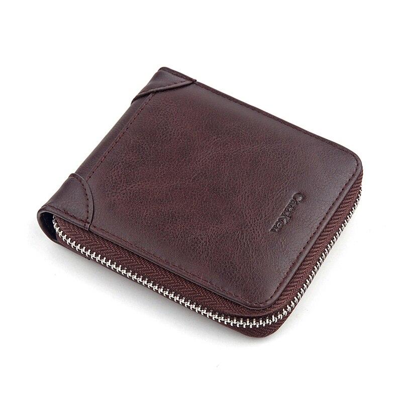 New Mens Zipper Coin Purse Retro Short Wallet Solid Front Pocket Money Bag Men Business Pu Leather Slim Credit Card Holders