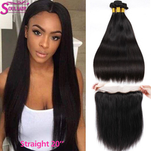 SoulLady Straight Bundles With Frontal Brazilian Straight Hair Bundles With Frontal Ear To Ear Lace Frontal Closure With Bundles