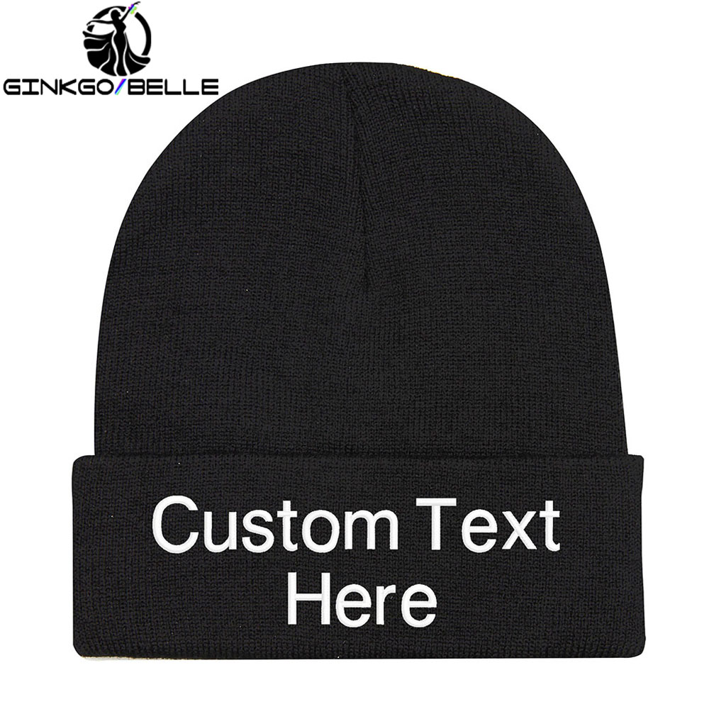Personalized Custom Beanie Hat Skullie Cap Slouchy Winter Autumn Embroidery Logo Choose Your Quote Name Design Text Thread Color