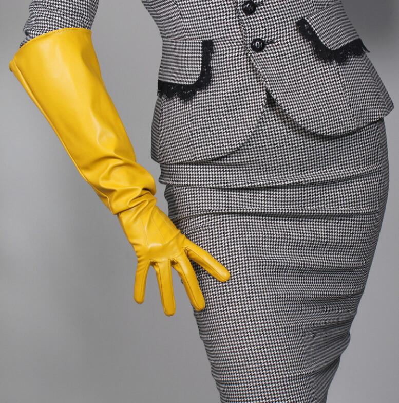 Women's Fashion Yellow Color Sexy Slim Faux Pu Leather Glove Lady's Club Performance Formal Party Leather Long Glove 50cm R2089