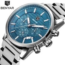 Benyar Business Chronograaf Sport Alle Staal Mannen Horloges Topmerk Luxe Militaire Quartz Mannelijke Watchwrist Klok Relogio Masculino