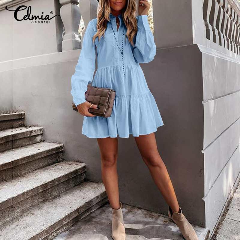 Plus Size Women Long Sleeve Sexy Mini Dress Celmia Fashion Solid Color Dresses Casual O-neck Shirt Dress Pleated Street Vestido