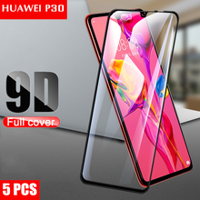 5Pcs Protective Glass for Huawei P30 Lite Screen Protector 9D 2.5D Film on huawei P30 Tempered Glass 2pack tempered glass screen protector for 10 1 huawei mediapad m3 lite 10 bah w09 bah al00 protect screen film