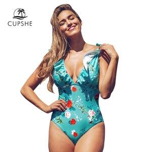 Image 5 - CUPSHE Teal Floral Gekräuselten V ausschnitt Einteiliges Badeanzug Sexy Spitze Up Padded Frauen Monokini 2020 Mädchen Strand Badeanzug bademode