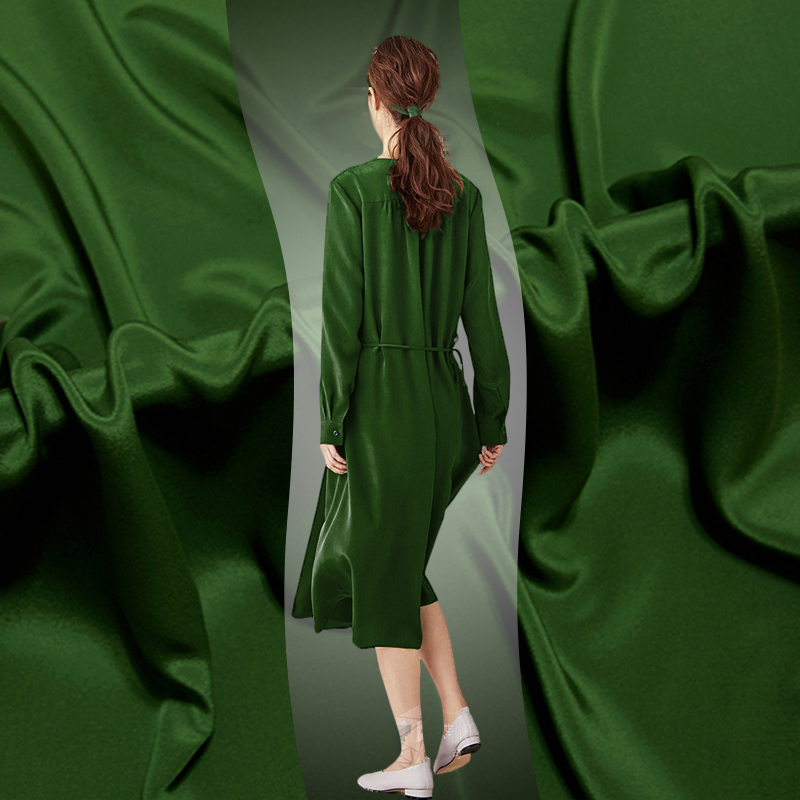 Haute qualité armée vert lourd soie crêpe de chine tissu 27mm robe compassion crêpe de chine tissu de soie en gros tissu de soie