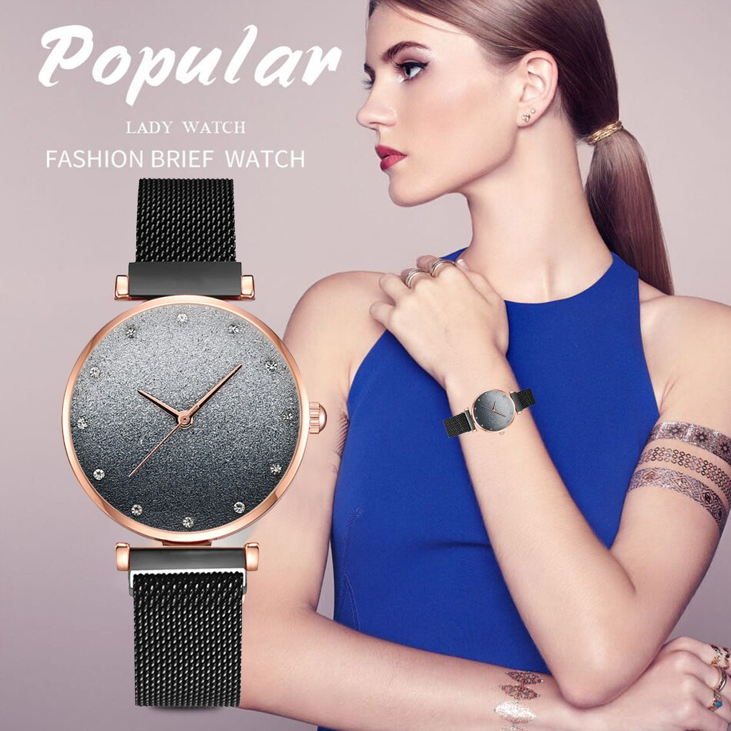 Watch Women Fashion Luxury Casual Quartz Watch Starry Sky Romantic Ladies Clock Rose Gold Purple Minimalist Dress Gift Bracelet