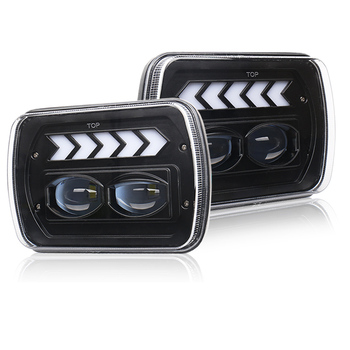 7X6 5X7 LED Headlight Arrows White DRL Amber Turn Signal For Jeep Wrangler YJ Cherokee XJ Trucks H4 LED Square Headlights 1 Pair