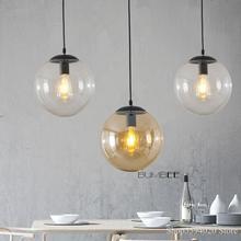 Nordic Glas Ball Anhänger Lichter Retro Loft Industrie Hängenden Lampe Küche Led Suspension Leuchte Schlafzimmer Home Decor Leuchten