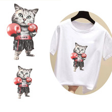 Fashion cute cartoon Boxing Boxer Cool cat Thermal transfer decals DIY ironing Hot stamping decorative patches Package printing