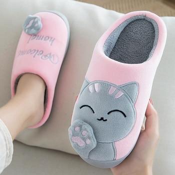 Women Slippers 3D Embroidery Cartoon Cat Winter Warm Plush Shoes Men Ladies Couple Home Indoor Outdoor