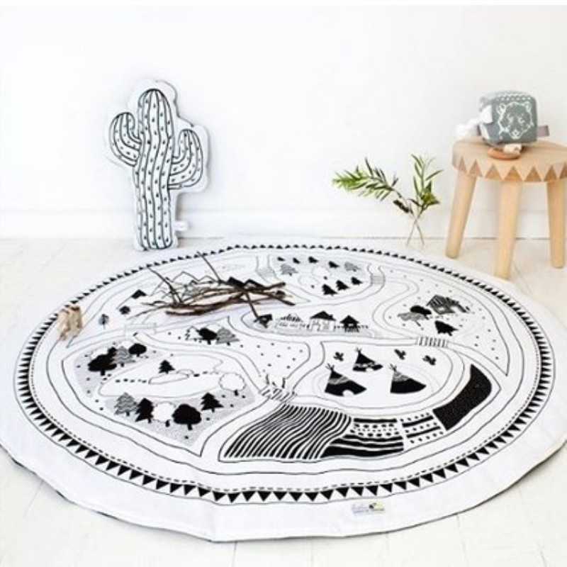 INS Nordic Style Round Baby Cotton Game Play Mat Soft Pad Crawling Bedding Blanket Kids Children Carpet Rug Photo Prop Room Deco