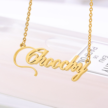 Personalized Name Necklace Handmade Customized Cursive Font Nameplate Pendant Gold Chain Stainless Steel Jewelry Birthday Gifts personalized name custom nameplate necklace and pendant cursive handwritten stainless steel jewelry 2019 handmade birthday gift