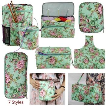 Nueva bolsa de almacenamiento para lanas DIY tejer gancho de ganchillo 7 estilos gancho de ganchillo y bolsa de tejer para enganchar y tejer