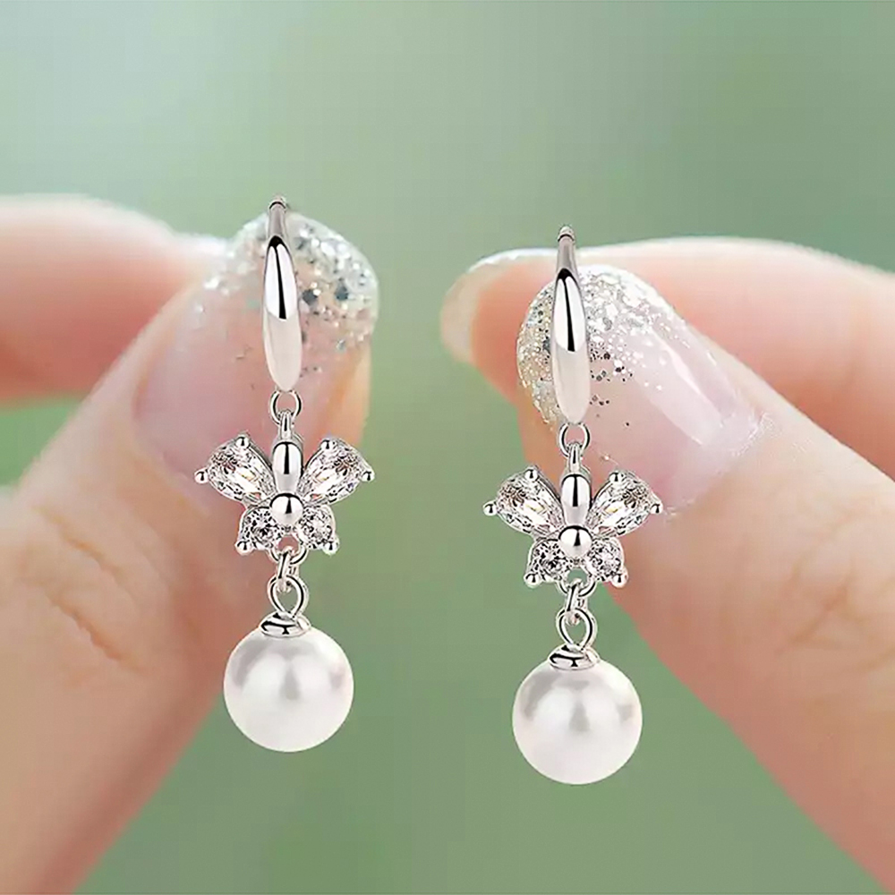 Huitan Fashion Crystal Butterfly with Imitation Pearl Drop Earrings Elegant Bridal Wedding Jewelry Top Quality Earring for Women