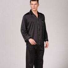 Лето пижамы мужские сатин шелк ночное белье пижама Verano Hombre длинный рукав однотонный цвет костюм плюс размер пижама Grande Taille мода