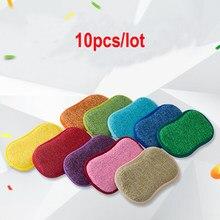 10pcs/Lot Scouring Pad Sponge Pot Brush Kitchen Strong Decontamination Non Stick Dishcloth Magic Wipe Dishcloth