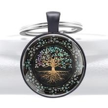 Black Charm  Tree of Life Glass Cabochon KeyChain