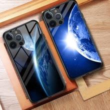 Iphone 12 pro max caso céu estrelado caso de telefone para iphone 11 12 pro max 8 7 6s plus x xr xs max vidro temperado capa dura