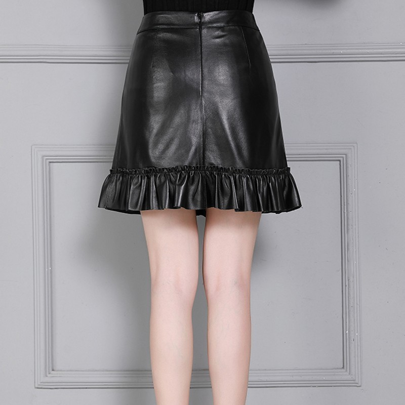 Qualities Elegant Women Luxury Sheepskin Single Breasted Pockets Pleated Skirts High Waist Slim Fit Plus Size A-Line Skirts