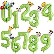 40 дюймов фрукты зеленый номер фольги Воздушные шары воздушный шар в форме животного Обезьяна Жираф Зебра Рисунок 1 2 3 года ребенок мальчик девочка декор для вечеринки в честь Дня Рождения