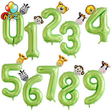 Globos de aluminio con número de fruta verde de 40 pulgadas, figura de cebra, mono, jirafa, chico de 1, 2 y 3 años, decoración para fiesta de cumpleaños