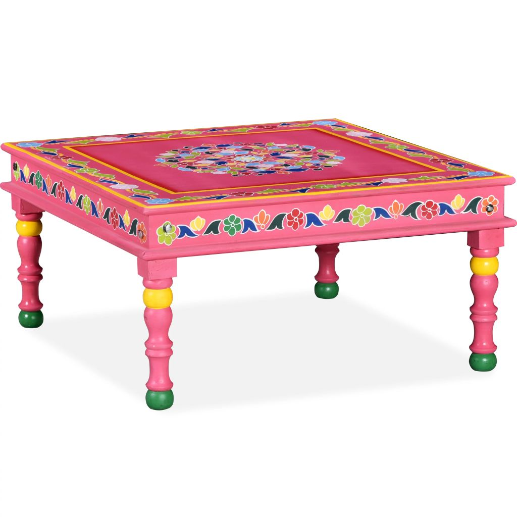 VidaXL Coffee Table Solid Mango Wood Pink Hand Painted