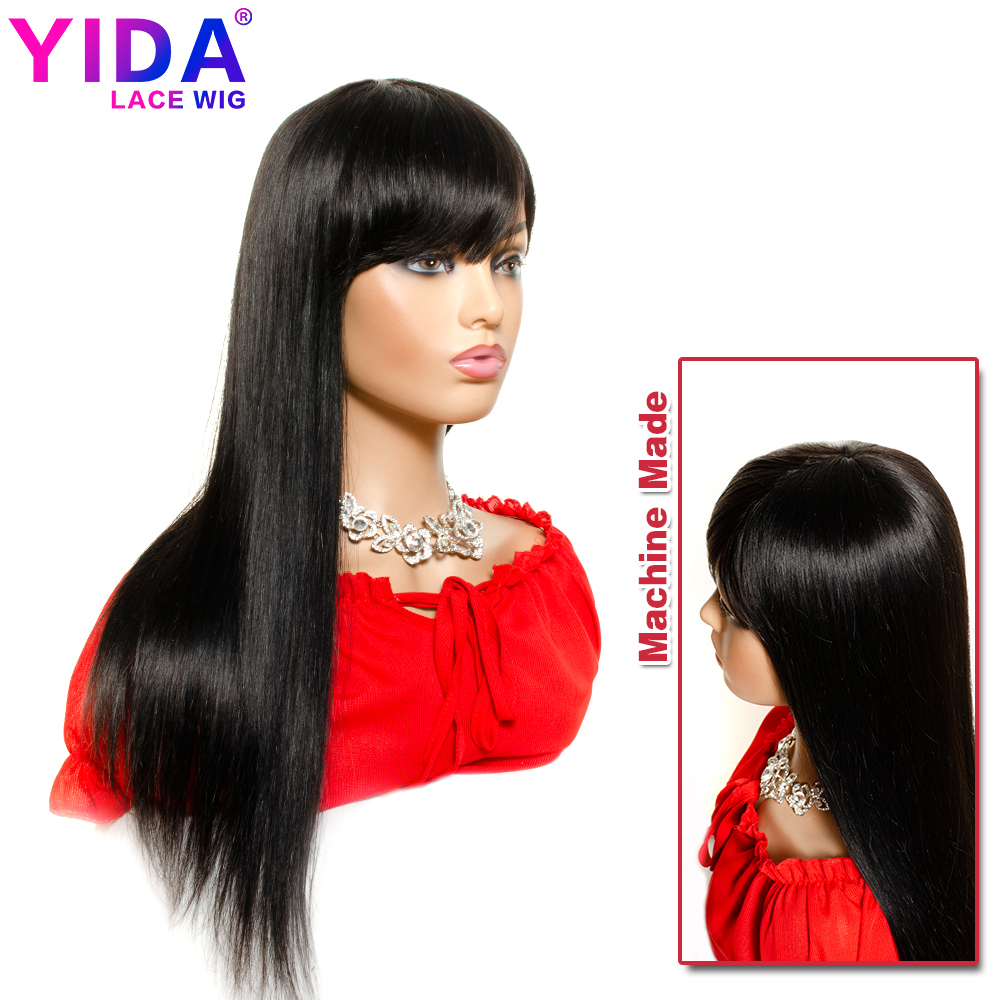 Long Human Hair Wigs With Bangs Remy Brazilian Straight Hair 16- 28 Inch Wig Natural Color Glueless Machine Made Wig Yida