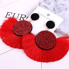 Europe and America exaggerated fashion round bohemian  tassel earrings female accessories popular jewelry direct sales
