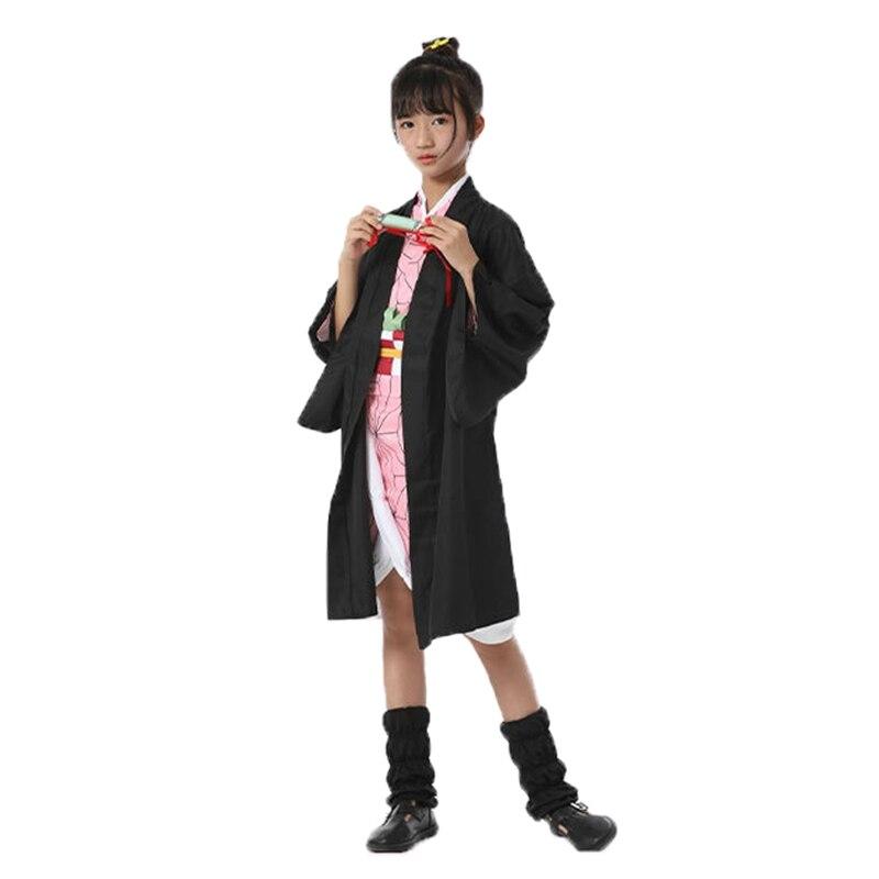 Anime Demon Slayer Kimetsu No Yaiba Kamado Tanjirou Kamado Nezuko Cosplay Costume For Kids