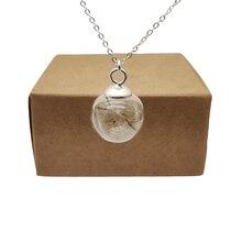 Одуванчик wish настоящий цветок стеклянный шар кулон из стерлингового