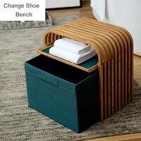 Simple Modern Small Sofa Change Shoe Bench Shoe Rack Space Saving Wardrobe Storage Cabinet Chests Organizer Portable Shoe Bench
