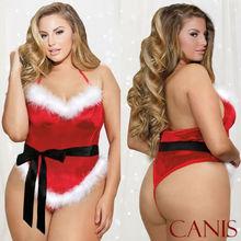 Сексуальное женское белье размера плюс с открытой спиной, кружевное нижнее белье, ночная рубашка, рождественское Эротическое мини-платье без рукавов