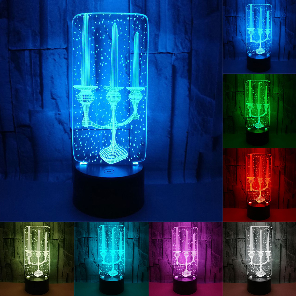 Decorative Lighting Cable Candle Candlestick Shaped 3D LED USB Bedroom Night Light Multicolor Table  Decor