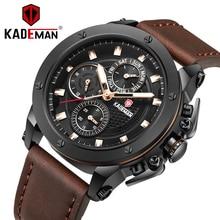 KADEMAN Fashion Men Watches 2019 Newest Man Quartz Watch Calendar Display Waterproof Leather Strap Multi-Color Relogio Masculino