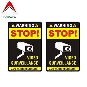 Aliauto 2 X автомобиль наклейки Предупреждение единый видеонаблюдение ПВХ наклейки для Mercedes Хонды Тойоты Volkswagen Renault Opel, 7 см * 10 см
