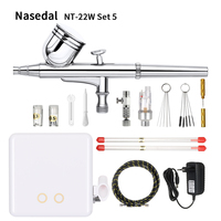 Nasedal NT 22W Auto Stop/Start Airbrush Compressor Dual Action Air Brush Set Spray Gun Adjustable Power Touch Switch