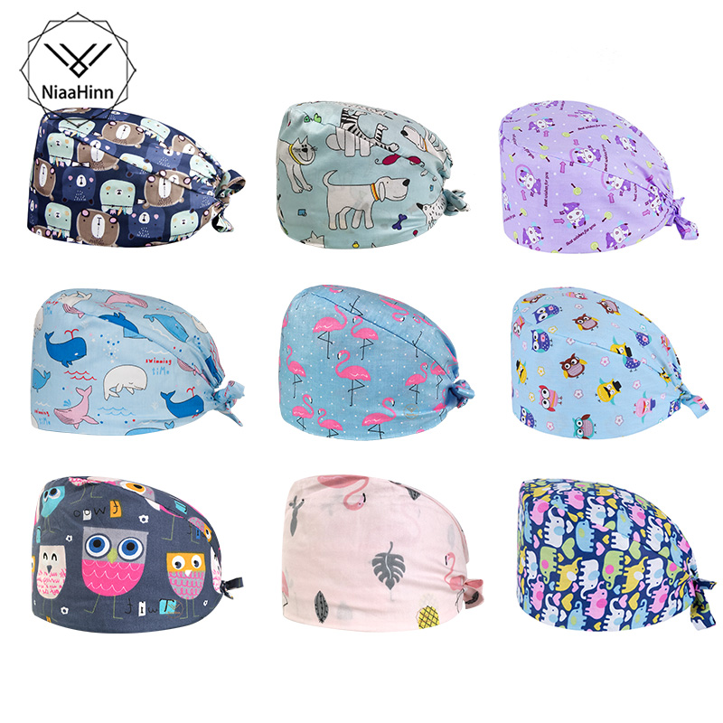 Red Flamingo Pattern Hospital Surgical Medical Cap Doctors Nurse Operating Room Hats Dentistry Beauty Work Hat Pet Doctor Hats
