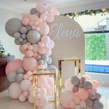 127 pçs macaron balões arco kit pastel cinza rosa balões guirlanda 1st festa de aniversário decoração do chuveiro do bebê aniversário suprimentos