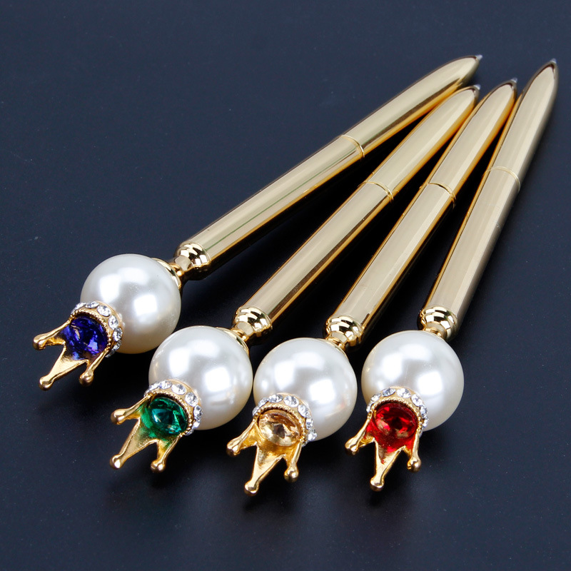 New Pearl Crown Metal Pen Korean Creative Business Office Stationery Rotary Oil Ball Pen Customization 10pcs BYD 509725