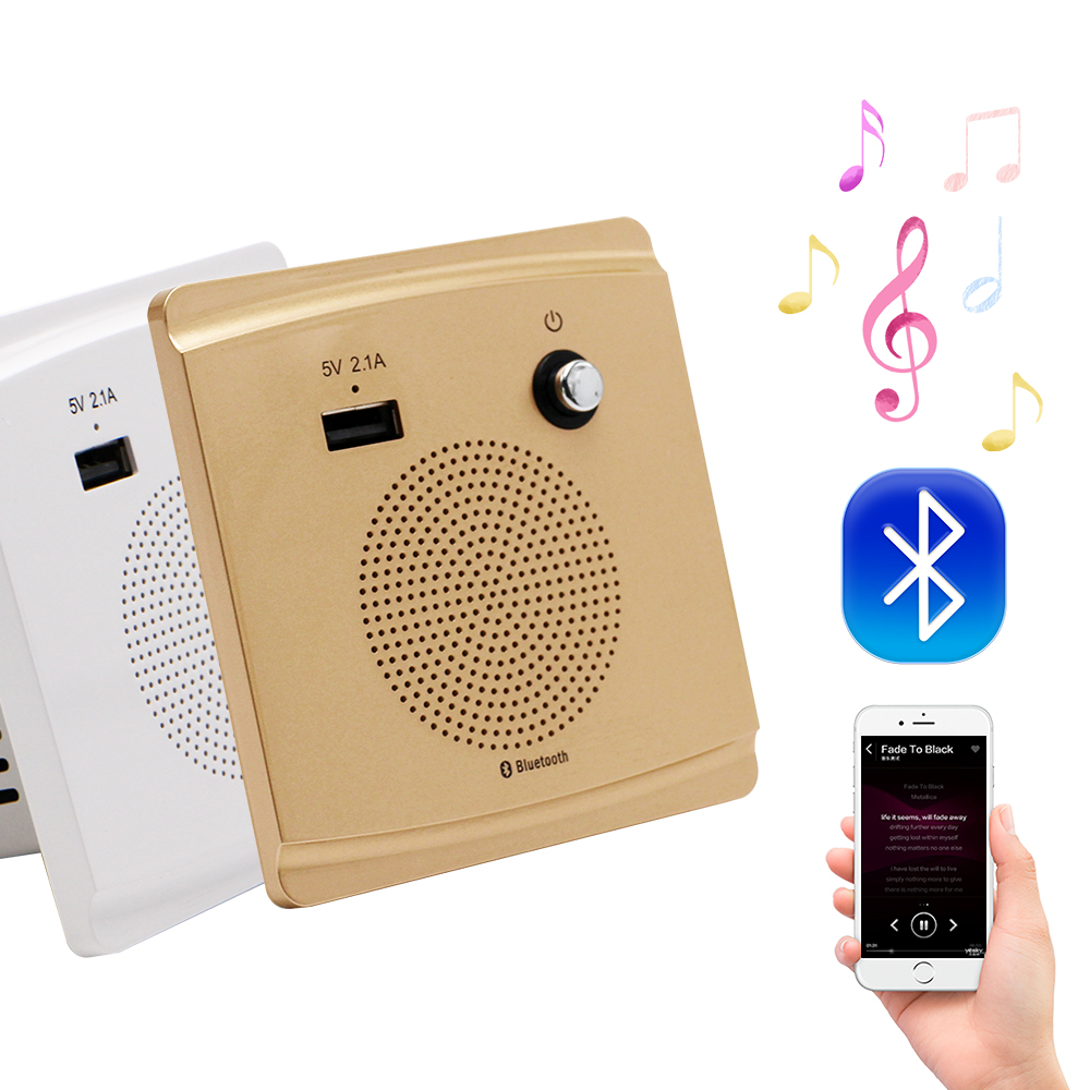3.2W Bluetooth Speaker Smart Socket Mount Speaker HiFi Music Player 5V 2.1A USB Charging Port
