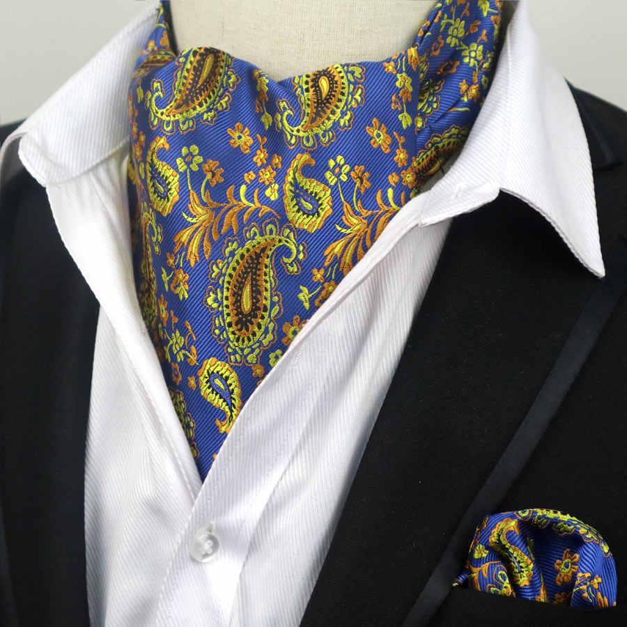 67 renkler erkekler lüks ipek Ascot kravat seti adam kravat bağları mendil seti çiçek Paisley nokta cep meydanı seti düğün parti