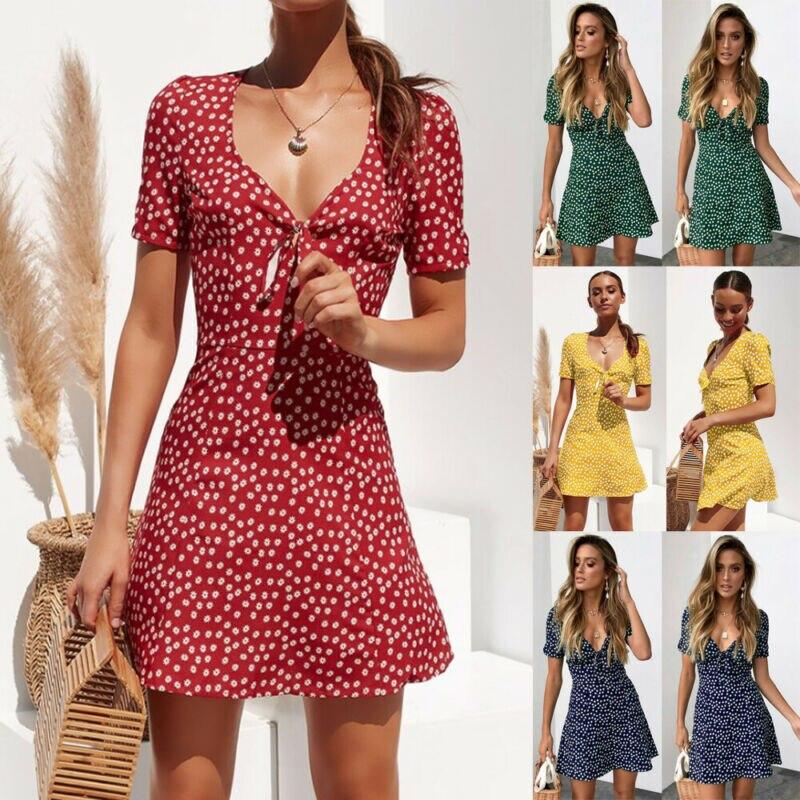 2020 New Fashion Women Summer Short Sleeve V-neck Boho Floral Casual Dress Party Evening Beach Mini Sundress
